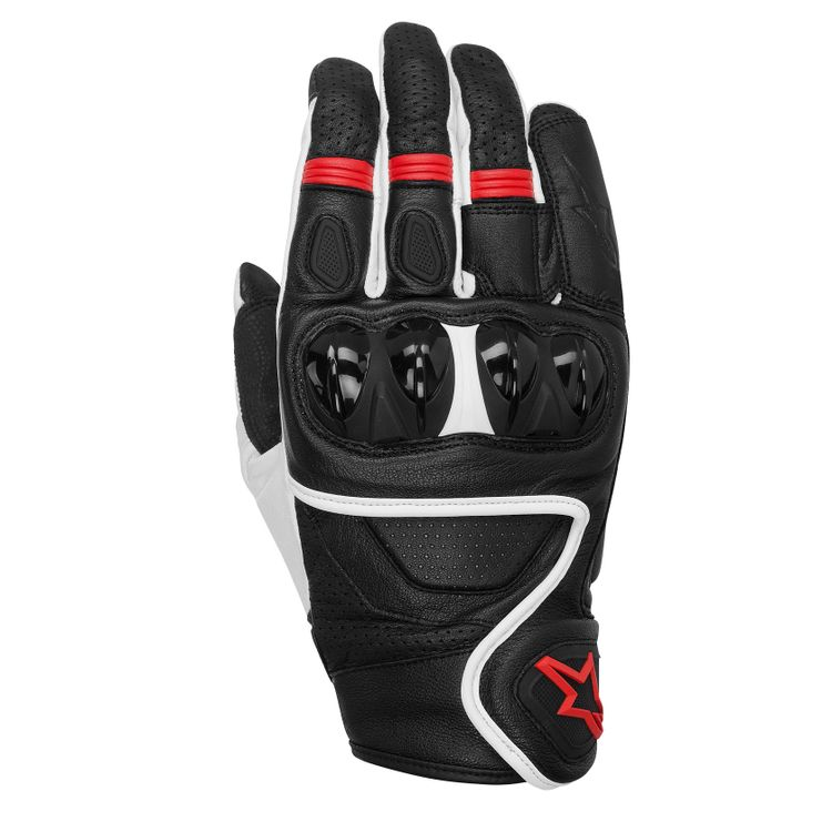 CELER_leather_glove_black_white_red