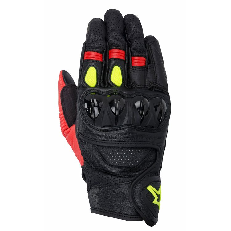 CELER_leather_glove_black_red_yellow-fluo