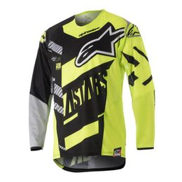 CAMISA-ALPINESTARS-RACER-SCREAMER-YOUTH-PRETO-AMARELO-FLUOR-CINZA