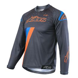 CAMISA-ALPINESTARS-YOUTH-RACER-MAGNETO-INFANTIL-19-ANTHRACITE-LARANJA-FLUOR-CIANO